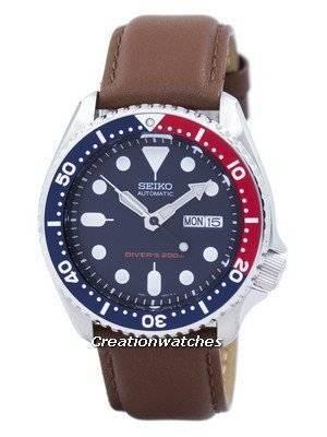 Seiko Automatic Diver\'s 200M Ratio Brown Leather SKX009K1-var-LS12 Men\'s Watch