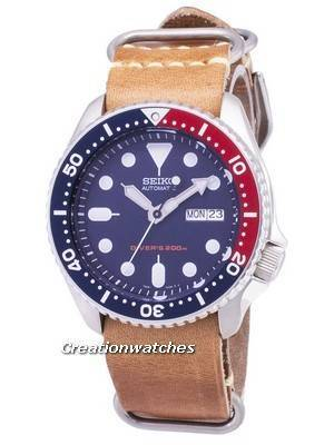 Seiko Automatic SKX009K1-LS18 Diver's 200M Brown Leather Strap Men's Watch