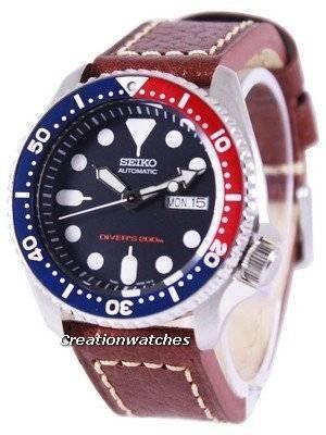 Seiko Automatic Diver's Ratio Brown Leather SKX009K1-LS1 200M Men's Watch
