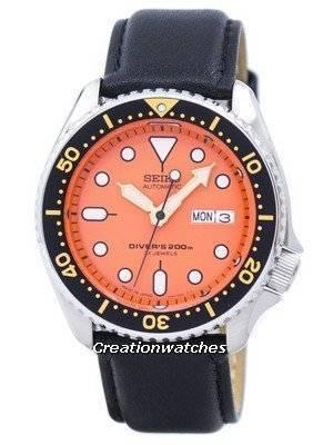 Seiko Automatic Diver\'s Ratio Black Leather SKX011J1-LS10 200M Men\'s Watch
