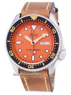 Seiko Automatic SKX011J1-LS17 Diver\'s 200M Japan Made Brown Leather Strap Men\'s Watch