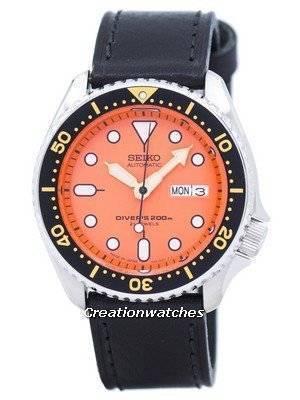 Seiko Automatic Diver's Ratio Black Leather SKX011J1-LS8 200M Men's Watch