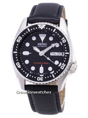 Seiko Automatic SKX013K1-MS5 Diver\'s 200M Black Leather Strap Men\'s Watch