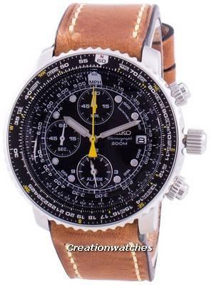 Relógio Seiko Pilot Flight SNA411P1-VAR-LS17, quartzo, cronógrafo 200M para homem