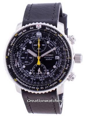 Relógio Seiko Pilot Flight SNA411P1-VAR-LS8, quartzo, cronógrafo 200M para homem