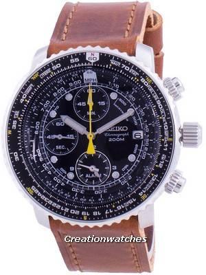 Relógio Seiko Pilot Flight SNA411P1-VAR-LS9, quartzo, cronógrafo 200M para homem
