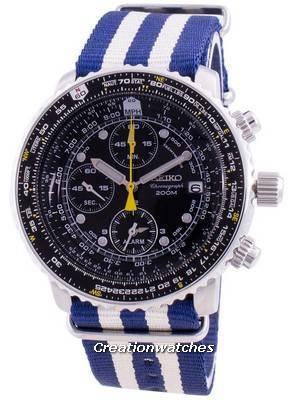 Relógio Seiko Pilot Flight SNA411P1-VAR-NATO2, quartzo, cronógrafo 200M para homem
