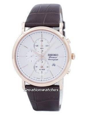 Seiko Premier cronógrafo de alarme de quartzo SNAF82 SNAF82P1 SNAF82P Men Watch