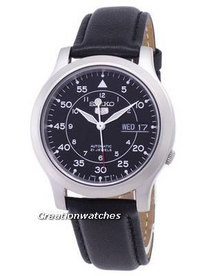 Seiko 5 Military SNK809K2-SS3 Automatic Black Leather Strap Men's Watch