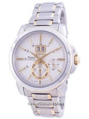 Relógio masculino Seiko Premier Kinetic Perpetual SNP166 SNP166P1 SNP166P Quartz 100M