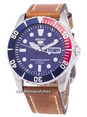 Seiko 5 Esportes SNZF15K1-LS17 Automático Brown Leather Strap Men Watch