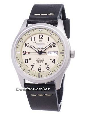 Seiko 5 Sports SNZG07J1-LS13 Military Japan Made Black Leather Strap Men's Watch