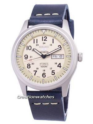 Seiko 5 Sports SNZG07J1-LS15 Military Japan Made Dark Blue Leather Srtap Men's Watch