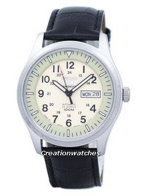 Seiko 5 Sports Military Automatic Japan Made Ratio Black Leather SNZG07J1-LS6 Men's Watch