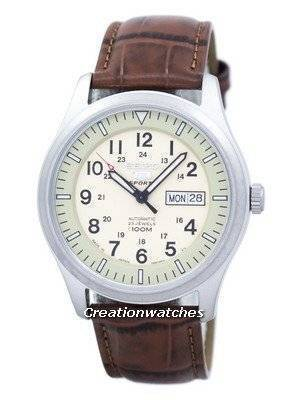 Seiko 5 Sports Military Automatic Japan Made Ratio Brown Leather SNZG07J1-LS7 Men's Watch