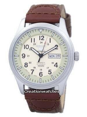 Seiko 5 Esportes Militar Automático Japão Feito Pulseira de Lona SNZG07J1-NS1 Relógio dos homens