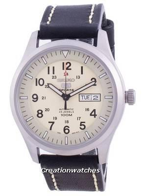 Seiko 5 Sports Cream Dial Automatic SNZG07K1-var-LS16 100M Men\'s Watch