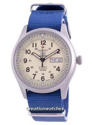 Seiko 5 Sports Cream Dial Automatic SNZG07K1-var-NATO8 100M Men\'s Watch