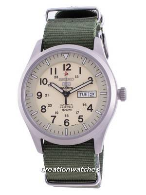 Seiko 5 Sports Cream Dial Automatic SNZG07K1-var-NATO9 100M Men\'s Watch