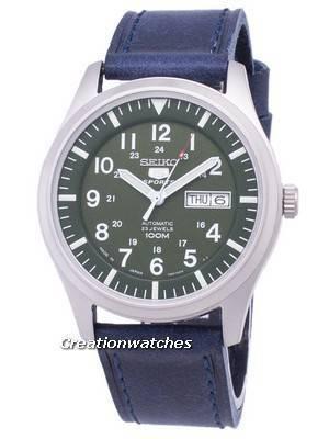 Seiko 5 Sports SNZG09J1-LS13 Japan Made Dark Blue Leather Strap Men's Watch