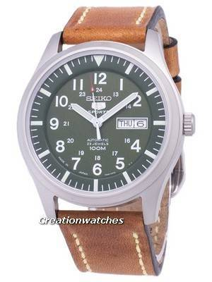 Seiko 5 Sports SNZG09J1-LS17 Japan Made Brown Leather Strap Men's Watch