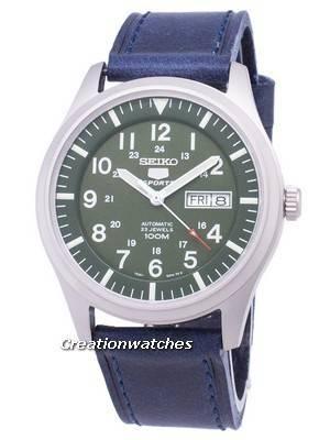 Seiko 5 Sports SNZG09K1-LS13 Automatic Dark Blue Leather Strap Men's Watch