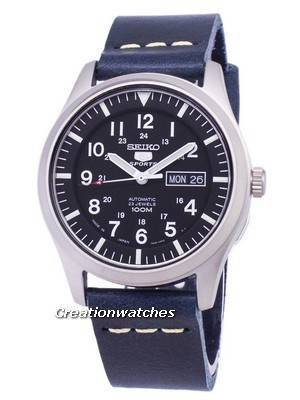 Seiko 5 Sports SNZG15J1-LS15 Automatic Japan Made Dark Blue Leather Strap Men's Watch