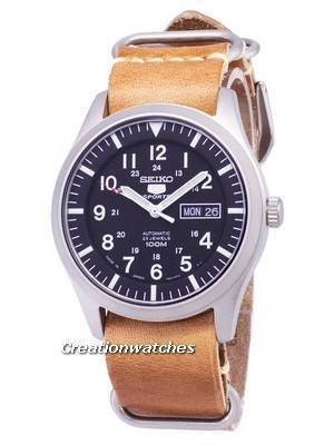 Seiko 5 Sports SNZG15J1-LS18 Automatic Japan Made Brown Leather Strap Men's Watch