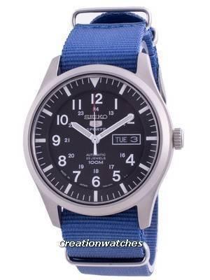 Seiko 5 Sports Black Dial Automatic SNZG15J1-var-NATO8 100M Men\'s Watch
