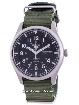 Seiko 5 Sports Black Dial Automatic SNZG15J1-var-NATO9 100M Men\'s Watch