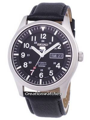 Seiko 5 Sports Automatic Ratio Black Leather SNZG15K1-LS10 Men's Watch
