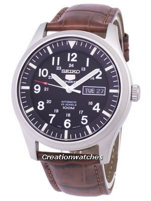 Seiko 5 Sports Automatic Ratio Brown Leather SNZG15K1-LS7 Men's Watch