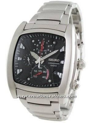 Seiko Men\'s Advanced 1/100 sec Chronograph Timer Black Dial SPC029P1 SPC029P