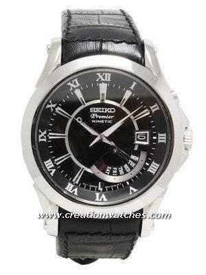 Seiko Premier Kinetic Leather Mens Watch SRN005P1 SRN005