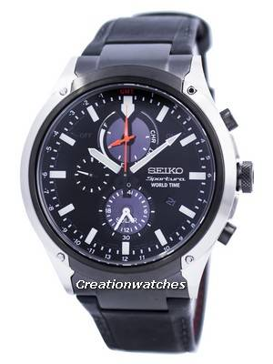Seiko Sportura World Time Solar Chronograph SSC483 SSC483P1 SSC483P Men's Watch