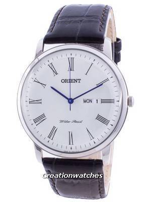 Orient White Dial Black Leather Quartz SUG1R009W6 Men\'s Watch