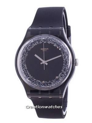Swatch Darksparkles Black Dial Silicone Strap Quartz SUOB156 Women\'s Watch