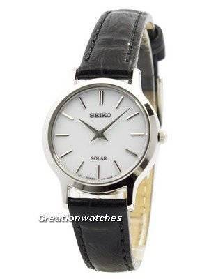 Seiko Solar White Dial Leather Strap SUP299 SUP299P1 SUP299P Women's Watch
