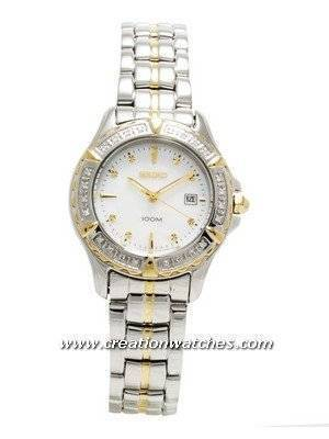 Seiko Ladies Two Tone Mother of Pearl with 24 Diamonds SXDA98P1 SXDA98