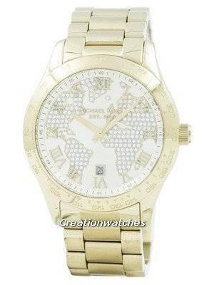 Refurbished Michael Kors Layton Engraved Map Crystal Pave Dial MK5959 Women's Watch