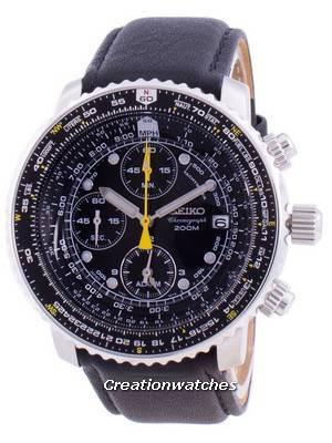 Refurbished Seiko Pilot\'s Flight Quartz Chronograph Diver\'s SNA411P1-VAR-LS10 200M Men\'s Watch